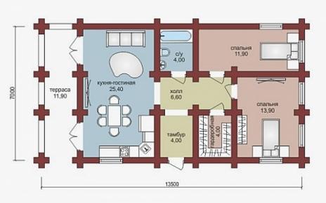 Дом из бруса W-82-1