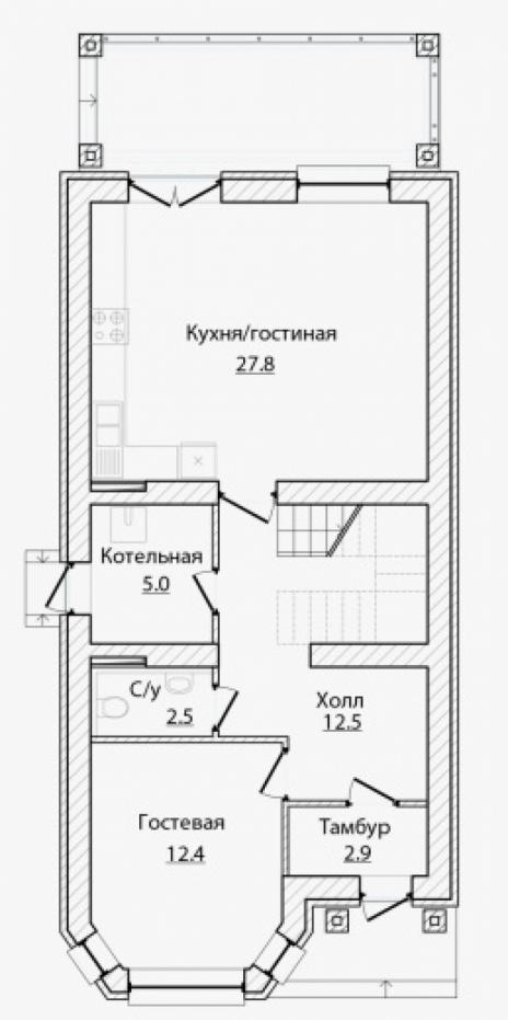 Дом из блоков A-125