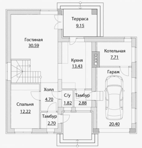 Дом из блоков A-170