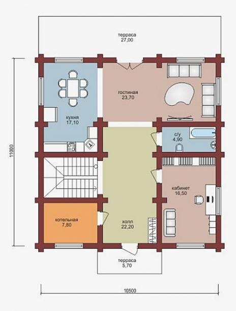 Дом из оцилиндрованного бревна W-231