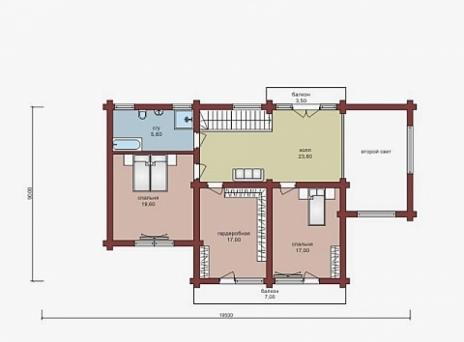 Дом из оцилиндрованного бревна W-310