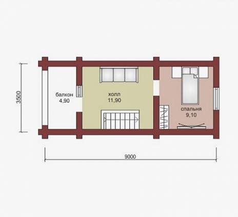 Дом из бруса W-85-1