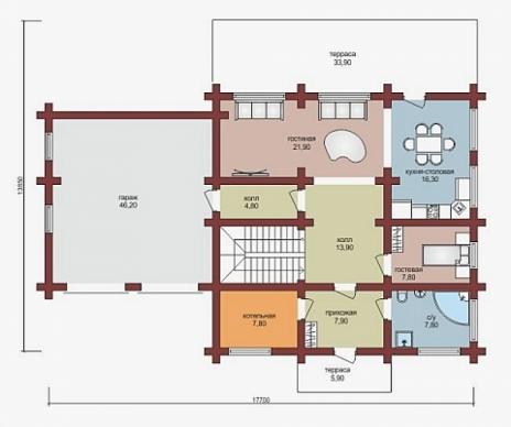 Дом из оцилиндрованного бревна W-275-1