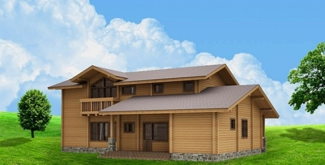 Дом из оцилиндрованного бревна W-310-1