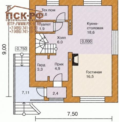 Дом из блоков L-115-1P
