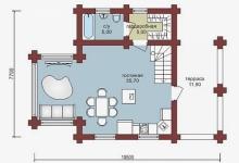 Дом из оцилиндрованного бревна W-93