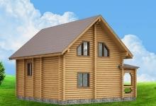 Дом из оцилиндрованного бревна W-142